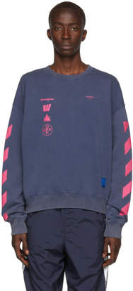 Off-White Off White Blue and Pink Oversized Diag Mariana de Silva Sweatshirt
