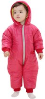 Aivtalk Pure Color 3 Layer Infant Baby Toddler Winter Romper Wadded Jacket, Small