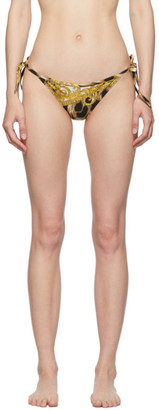 Versace Underwear Black and Tan Barocco Animalier String Bikini Bottoms