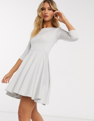 Closet London mini skater dress with 3/4 sleeve in white stripe