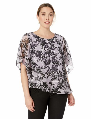 Alex Evenings Women's Plus Size Twinset Tank Top Jacket and Dress Pants Or Skirt ICY Orchid Blouse 1X