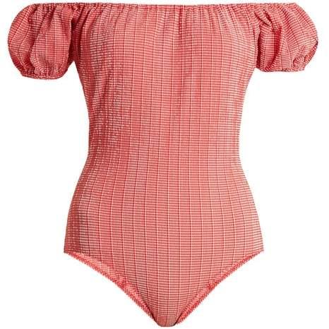 Lisa Marie Fernandez - Leandra Gingham Seersucker Swimsuit - Womens - Red White