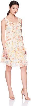 Robbie Bee Women's Petite Sleeveless Ruffle Front Chiffon Dress