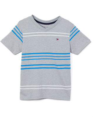 Tommy Hilfiger Boys' Tee Shirts GREY - Gray Heather Stripe Luther V-Neck Tee - Toddler & Boys