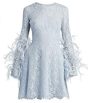 ZUHAIR MURAD Women's Cadix Feather-Trimmed Lace Mini Dress