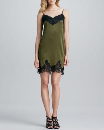 Haute Hippie Lace-Trim Slip Dress