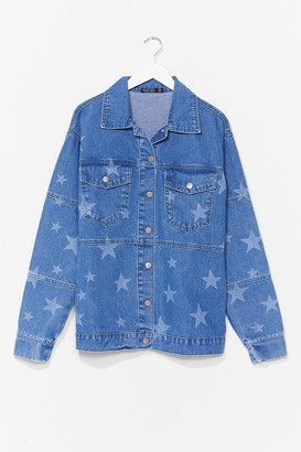 Nasty Gal Womens Baby You're a Star Relaxed Denim Jacket - Light Blue