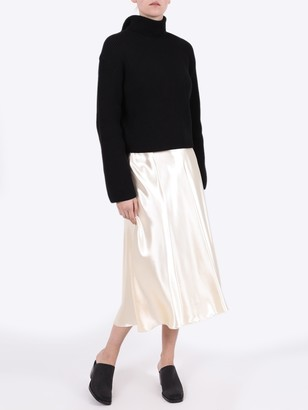 The Row Medela Midi Satin Skirt Vanilla