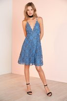 Astr Drew Plunging Two-Tone Lace Mini Dress