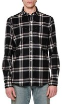 Valentino Western-Style Plaid Flannel Shirt, Black