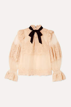 Zimmermann Espionage Corded Lace And Point D'esprit Tulle Blouse - Blush