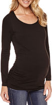 Asstd National Brand Long Sleeve Ruched Scoop Neck T-Shirt-Maternity
