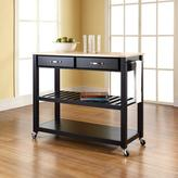 Crosley 42 in. Natural Wood Top Kitchen Island Cart with Optional Stool Storage in Black