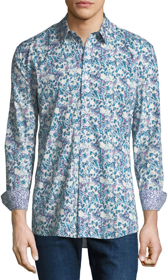 Duchamp Digital Floral Sport Shirt