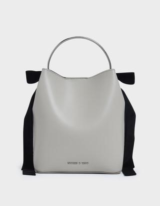 Charles & Keith Velvet Bow Detail Bucket Bag