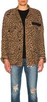 R 13 Shredded Leopard Abu Jacket in Brown,Animal Print.