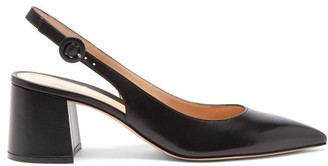 Gianvito Rossi Point-toe Leather Slingback Pumps - Womens - Black