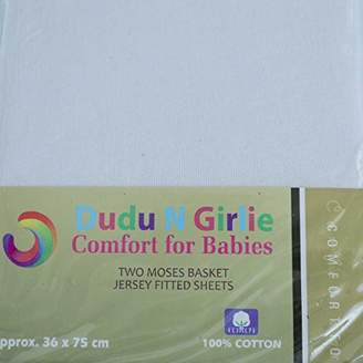 Dudu N Girlie Moses Basket Cotton Jersey Fitted Sheets, 36 cm x 75 cm, 2-Piece, White