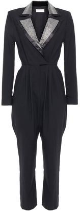 Ronny Kobo Crystal-embellished Satin And Wool-blend Jumpsuit