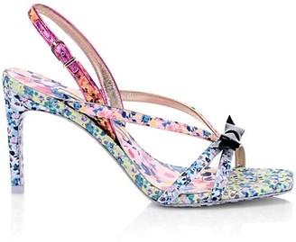 Sophia Webster Laurellie Floral-Print Silk & Leather Slingback Sandals