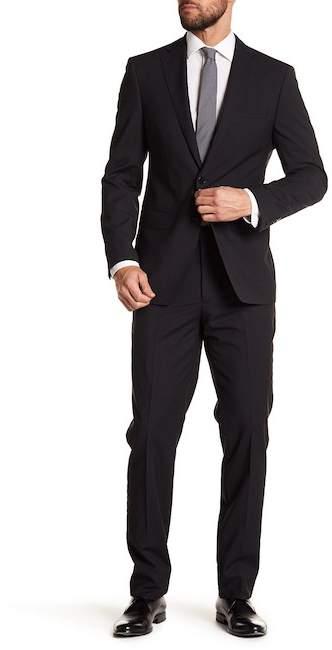 Calvin Klein Black Mini Grid Slim Fit Wool Suit
