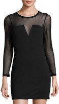 Lucca Couture Bianca Illusion-Neck Dress, Black