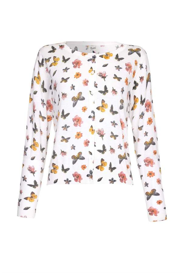 Yumi Womens/Ladies Butterfly and Flower Print Cardigan