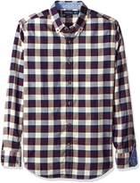 Nautica Men's Long Sleeve Twill with Neps Medium Plaid Shirt