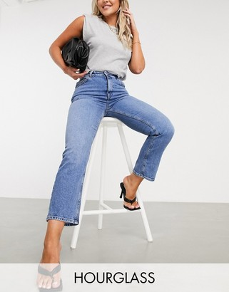 ASOS DESIGN Hourglass high rise stretch 'slim' straight leg jeans in vintage wash
