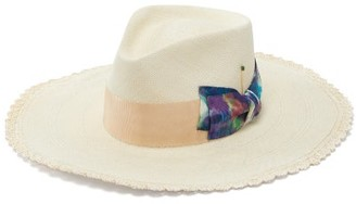 Nick Fouquet Terracrema Tie-dye Bow Scalloped Straw Fedora Hat - Mens - Beige Multi