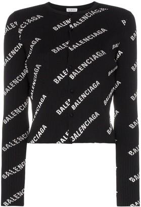 Balenciaga Logo Print Ribbed Knitted Cardigan
