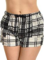 Angelina Black & White Checker Side-Pocket Fleece Boxers - Plus Too
