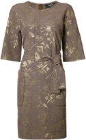 Paule Ka belted pocket dress - women - Cupro/Acetate/Cotton/Polyester - 42