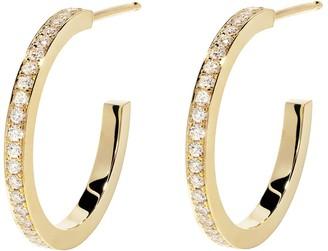 Azlee Front Pave Diamond Hoop Yellow Gold Earrings