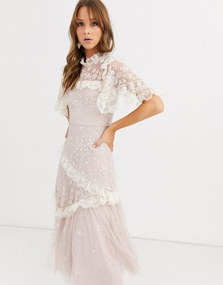 Needle & Thread high neck embroidered lace midi dress in blush-Pink
