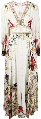 Camilla Floral Flared Silk Maxi Dress
