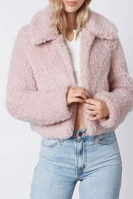 Cotton Candy Cropped Teddy Coat