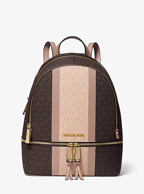 Michael Kors Rhea Medium Striped Logo and Leather Backpack