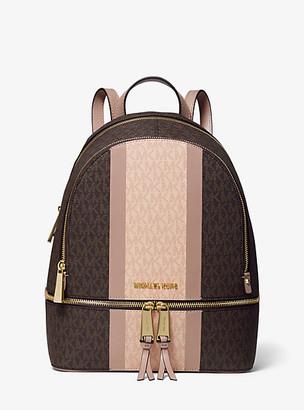Michael Kors Rhea Medium Striped Logo and Leather Backpack