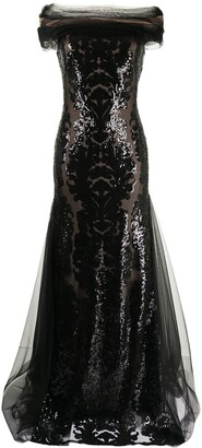 Tadashi Shoji Melek sequin-embroidered tulle gown
