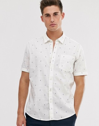 Esprit slim fit shirt with parrot print-White