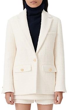 Maje Vandra Wool Tweed Blazer