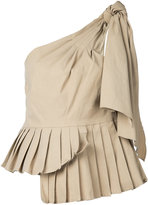 Sea pleated asymmetric blouse