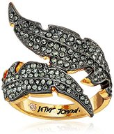 Betsey Johnson Angels & Wings Pave Feather Bypass Ring, Size 7