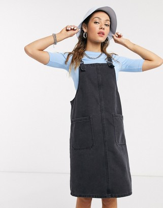Noisy May denim dungaree dress in washed grey
