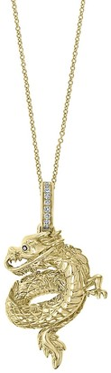 Effy 14K Yellow Gold, White Black Diamond Dragon Pendant Necklace