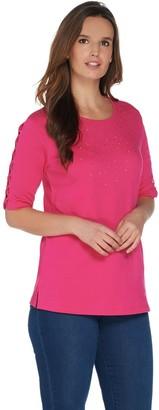 Factory Quacker Rhinestone Lattice Elbow Sleeve Knit T-Shirt
