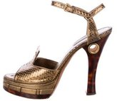 Louis Vuitton Embossed Platform Sandals