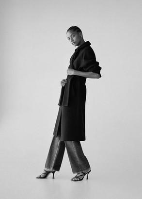 MANGO Leather strap sandals black - 6 - Women