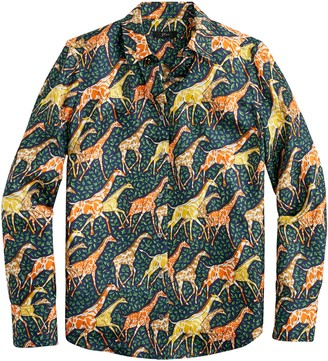 J.Crew Collection Silk Twill Shirt in Giraffes